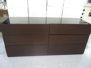 6 Drawer Contemporary  Dresser with Glass Top