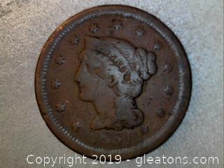 1851 / 81 Braided Hair Large Cent