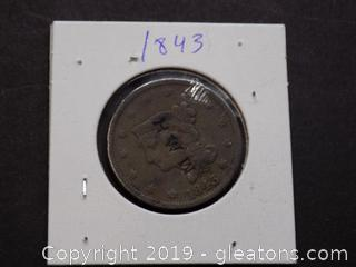 1843 large One Cent Coin