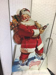 Vintage Cardboard Coca-Cola Santa Cut Out 1998