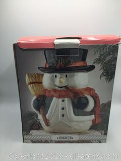 Hand Painted Snowman Cookie Jar