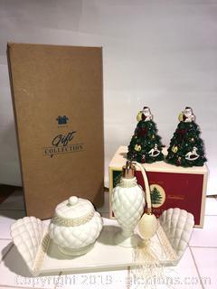 Brand New Christmas Tree Shakers. Avon Vanity Set
