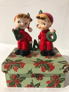Santas Elfs Pair of Antique Shakers Made by Napko