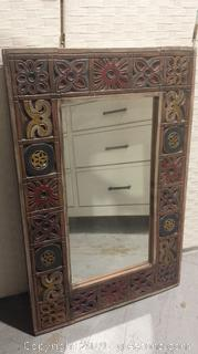 Hand Carved and Painted Wood Mirror