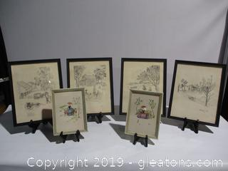 4 Signed Pencil Drawings 2 Vintage 5 x 7 Prints