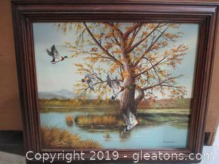 Signed Framed Original Oil Painting of Ducks