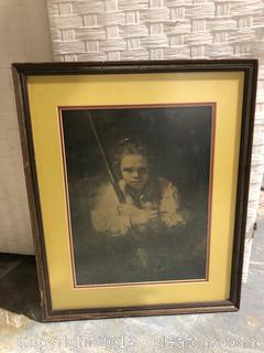 Vintage Print in Wood Frame