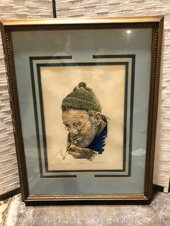 Poppa Framed Sketch by Gerald Mermer
