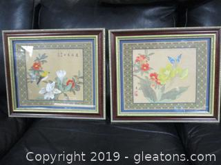Pair of Asian Silk Art Prints