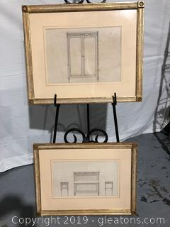 Pair of Print Sketches of Antique Furniture