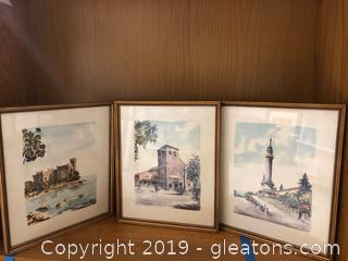 Lot of three Framed Color Sketch Prints by Lapaniri