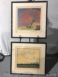 Pair of Framed Art by Artisan Gustave Baumaim