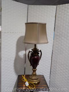 Pair Burgundy and Gold Table Lamp with Shade