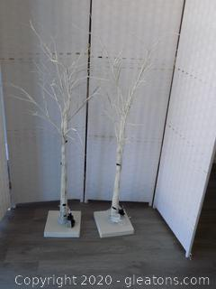 Pair of Lighted White Trees on Base