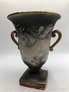 Antique Hand Painted Japanese Dragon Vase