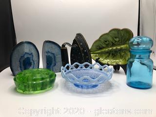 6 Piece Vintage & Antique Glassware and Iron Lot