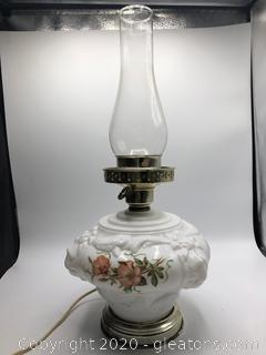Antique Milk Glass Hurricane Style Electric Lamp