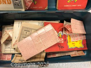 Tool Box of Vintage Gold Bond Stamp Books