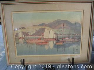 Vintage Signed Asian Art Waiting  for the Tide