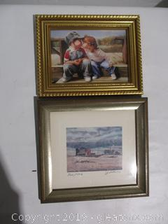 """Vintage Signed Print and Mini Lithograph """"First Kiss"""""""