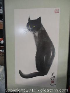 Asian Print Black Cat Framed