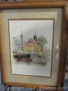 Signed Water Color Painting Framed