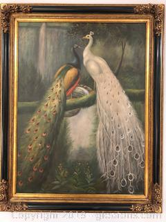 Beautiful Very Large Painting of Peacocks - Signed by B. Stein