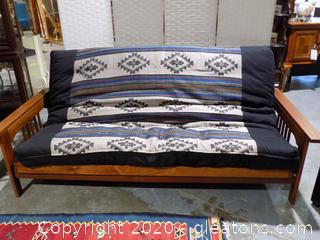 Full Size Wooden Framed Futon with Mattress