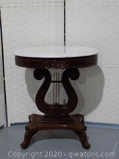 Oval Marble Top Harpshaped Side Table