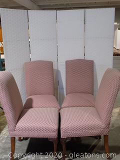 Upholstered Set of Six Dining Room Chairs with Mahogany Legs