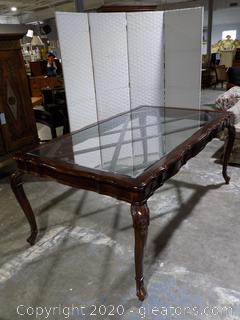 Mahogany Rectangular Table with Glass Top Ball and Claw Legs