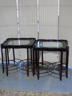 Pair of Unique Glass Top End Tables