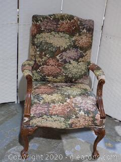 Queen Ann Styled Armed Chair with Balled Feet