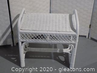 White Small Wicker Bench