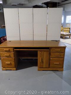 Large Oak Desk with Power Strip