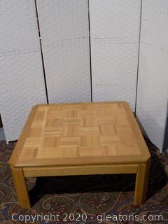 Solid Wood Coffee Table Parquet Top