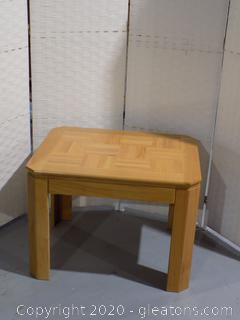 Solid Wood Side Table Parquet Top