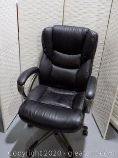 Rolling Leather Office Chair -Black