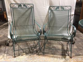 Lot Pair of Wrought Iron Patio Rockers