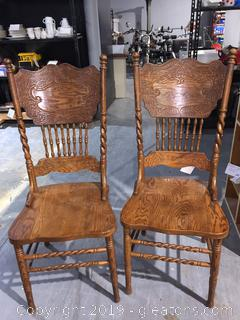 Pair of Oak Farmhouse Double Press Back Dining Chairs B