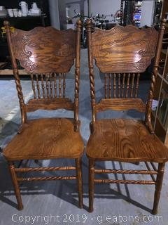 Pair of Oak Farmhouse Style Double Press Back Dining Chairs C