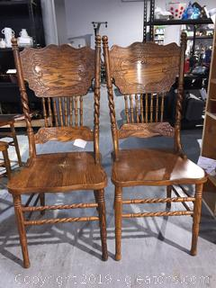 Pair of Oak Double Press Back Dining Chairs A
