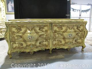Baroque Style Dresser with Serpentive Shaped Highly Ornamental Drawers