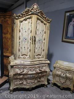 Baroque Style Armoire with Highly Ornamental Drawers 5 Drawers 2 Shelves