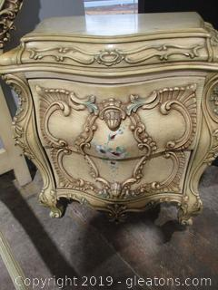 Baroque Style Night Stand with Highly Ornamental Drawers