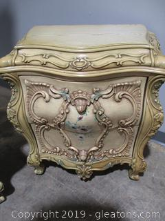 Baroque Style Naightstand with Highly Ornamental Drawers