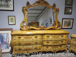 Baroque Style Dresser Mirror- 6 Drawers with Ornamental Designs