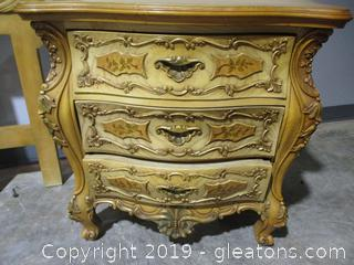Baroque Style Nightstand with Highly Ornamental Drawers and sides
