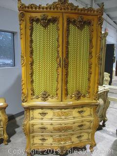 Baroque Style Armoire with Highly Ornamental Doors, Drawers and Sides