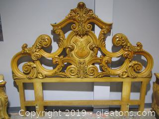 Baroque Style Headboard with Highly Ornamental Designs